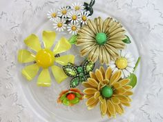 Your place to buy and sell all things handmade Vintage Costume Jewelry, Vintage Costumes, Vintage Jewelry, Bridal Brooch Bouquet, Brooch Bouquets, Vintage Cross Stitches, Green Accents, Shades Of Yellow, Vintage Yellow