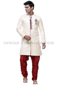 Cream #SemiIndoWestern With Hand Work On Neck & Front. Maroon #Churidhar. Get 33% #Discount Call on 9324044206 / 8108317618