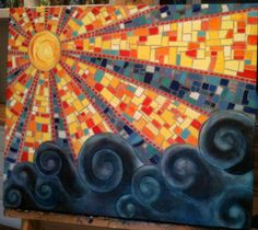 New Painting - Mosaic Sky  by Idylbrush. This is acrylic on Linen Canvas   18X24  Gloss Varnish