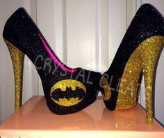 BATMAN comic yellow gold and black sparkly glitter high heel stiletto shoes Custom Made design Low or high heels Black Glitter Shoes, Black And Gold Shoes, Yellow High Heels, Yellow Pumps, Glitter High Heels, Gold High Heels, Cute High Heels, Sparkle Shoes, Gold Pumps