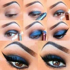 Tutorial for blue matte eye makeup. Brown eyes. I would make a smaller eyeliner tail.