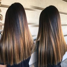 Balayage ombre for this cutie pie! seamless on straight hair🎨🎨 # Balayage Hair Blonde Medium, Balayage Straight, Dark Hair With Highlights, Asian Hair, Brunette Hair, Dyed Hair, Straight Hairstyles, Hair Inspiration, Hair Cuts