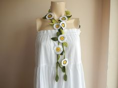 Daisies Crochet Scarf-Lariat Necklace by dreamhouse1 on Etsy