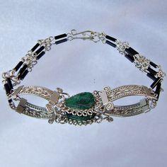 Vintage Green Chrysocolla Bracelet  Silver  Black Tube by waalaa, $29.99