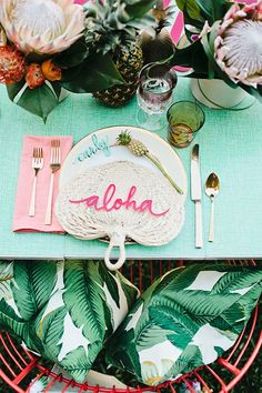 Turn your backyard bridal shower into a destination affair with a tropical theme.