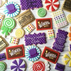 Willy Wonka cookies! These were so fun! #customcookies #decoratedcookies #willywonkacookies #willywonka #charlieandthechocolatefactory #cookies #sweets #cookieart
