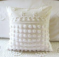 WHITE POP STARS vintage chenille pillow by moreChenilleChateau, $75.00