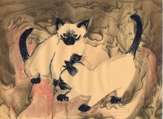 """Crouching Dragons"" by Sharon Giles Suminagashi / ink drawing of Siamese kittens done on manila paper Siamese Kittens, Anatomy Art, Process Art, Rice Paper, Ink Painting, Dragons, Japanese, Manila, Animals"