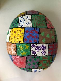 Painted rock Quilt rock.