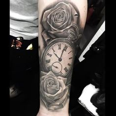 This lovely image of time and roses. | 19 Steampunk Tattoos That Will Transport You To An Alternate Universe