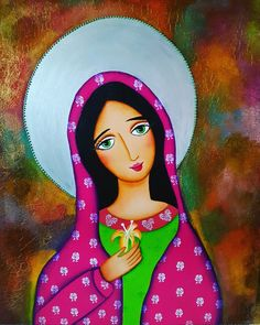 Virgen Maria Divine Mother, Mother Mary, Polaroid Picture Frame, Mexican Paintings, Mini Canvas Art, Cross Art, Blessed Virgin Mary, Arte Popular, Mexican Folk Art