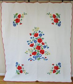 Vintage 30 40s Applique Poppies Quilt Clear Red Blue on White | eBay