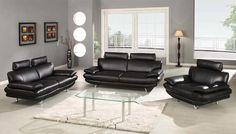 GB 840 Black Leather Sofa Set