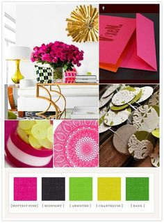 Hot pink, navy and green color palette