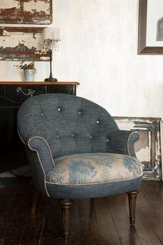 John Sankey Ferdinand Chair in Vintage Linen Denim and Bizet Ink
