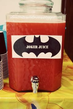 "Joker Juice! I'm thinking green Hawaiian Punch would look a bit more ""radioactive"""