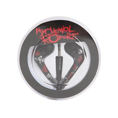 My Chemical Romance Black Parade Earbuds Hot Topic (£6.43) ❤ liked on Polyvore featuring accessories, tech accessories, headphones, jewelry, earbud headphones, black headphones, ear bud headphone, black earbuds and earphones earbuds