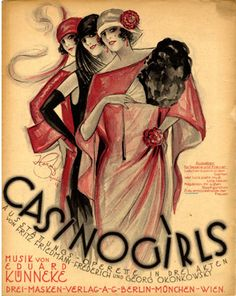 """Casino Girls"" ~ 1923 vintage sheet music cover Art Deco flappers illustrated by Willy Herzig."