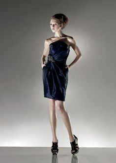 Sheath Strapless Ruched Bodice Beaded Applique Taffeta Cocktail Dress-soc0021,  $158.95
