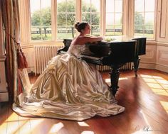 Piano. Dress. LOVE... I wish I lived back in the day when this was what women wore every day!