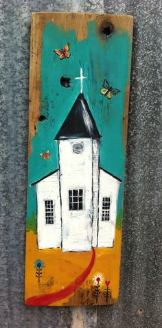 Modern Folk Church Rustic Wood by evesjulia12 on Etsy, $68.00