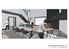 Vista interior del salón. Sra. Farnsworth. Estudio de Arquitectura y Diseño.