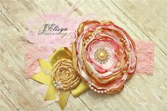 gold and light pink vintage handmade flower by JElisynBoutique, $30.00
