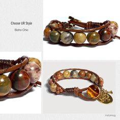 Boho Chic Leather-wrapped bracelet - Picasso Stone
