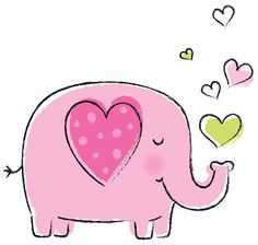 Art Drawings For Kids, Drawing For Kids, Cartoon Drawings, Cute Drawings, Elephant Illustration, Cute Illustration, Animal Illustrations, Elephant Art, Pink Elephant