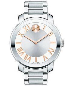 Movado Watch, Unisex Swiss Bold Stainless Steel Bracelet 39mm 3600196 - Women's Watches - Jewelry & Watches - Macy's