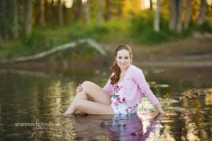 Senior portrait pose, in the water :) Taken in Montana - I bet that was chilly