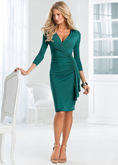 Side ruffle dress, hardware detail sandal in the VENUS Line of Dresses for Women