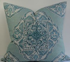 Lacefield Malta decorative throw pillow, Oriental Asian medallion in aqua, teal, turquoise, blue, barkcloth, Chinoiserie designer pillow