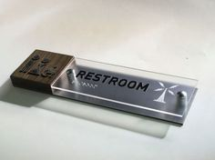 ADA Restroom sign wood metal and frosted plexyglass | Project Sign