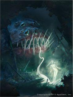 Artist: Marc Simonetti aka Kemar - Title: Apparition of the deep sea - Card: Unknown Dark Fantasy Art, Fantasy Artwork, Mythological Creatures, Mythical Creatures, Sea Creatures, Fantasy Monster, Monster Art, Creepy Art, Scary