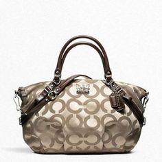 Coach Madison Op Art Sateen Large Sophia Gold Bag - Satchel $279