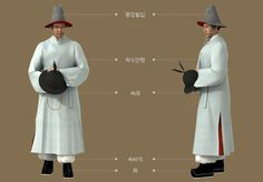 Goryeo Dynasty(AD918-1392) Korean traditional clothes #hanbok 송은 박익의 묘 (松隱 朴翊의 墓) 벽화 시종. - 문화콘텐츠닷컴