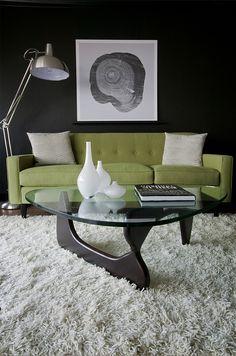 ♂ Masculine interior design elegance olive green sofa with black wall