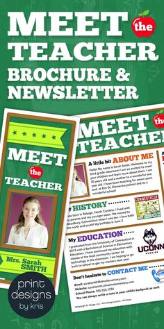 meet the teacher flyer newsletter or brochure fully editable with tutorial