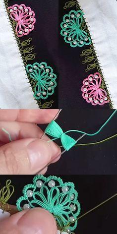 Fan Beaded Fan Needle Lace Model Made With Hairpin – crochet Hand Embroidery Stitches, Ribbon Embroidery, Crochet Stitches, Embroidery Designs, Crochet Patterns, Crochet Borders, Needle Tatting, Tatting Lace, Needle Lace