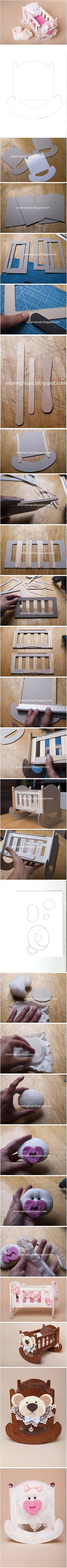 DIY Cardboard Baby Cradle DIY Cardboard Baby Cradle ~ cute for baby shower… Barbie Furniture, Dollhouse Furniture, Diy Dollhouse, Dollhouse Miniatures, Baby Crafts, Kids Crafts, Diy Paper, Paper Crafts, Card In A Box