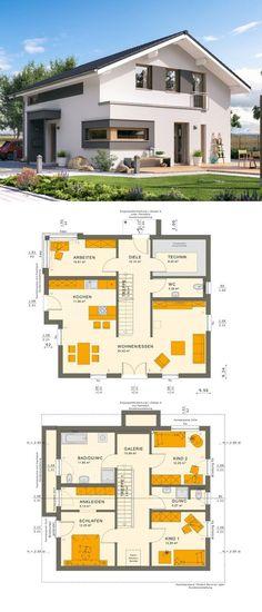Modernes Design Haus mit Galerie & Satteldach Architektur – Einfamilienhaus bauen Grundriss Fertighaus Sunshine 154 V5 Living Haus – HausbauDirekt.de – Lea E.