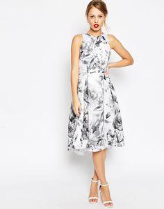 Image 1 ofASOS Premium Mono Floral Full Prom Dress