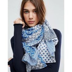 ASOS Blue Bandana Print Oversized Scarf (1.010 RUB) ❤ liked on Polyvore featuring accessories, scarves, blue, blue scarves, asos, woven scarves, lightweight shawl and oversized scarves