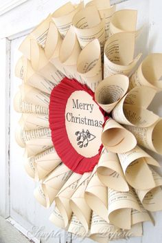 paper book page wreath-love this♥
