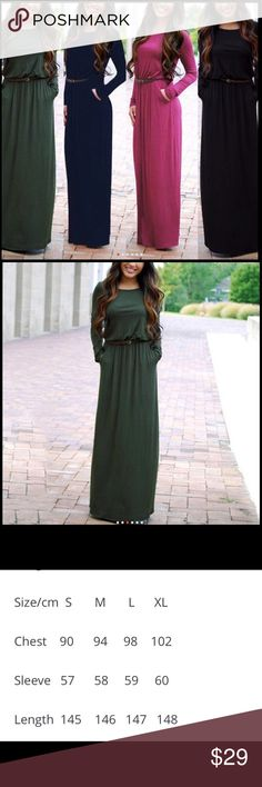 💕NEW❤️maxi dress for fall in dark army green Autumn Floor Length Dress O Neck Long Sleeve Pocket Pleated Waist Maxi Long Dress with Belt.  In gorgeous deep army green color.  Sizes line up as follows:  Small is 2/4, medium is a 6,large is a 8, XL is a 10.  Please pay. Lose attention to the size chart and if you are close to the next size buy up.  I want you to be happy with your purchase. sundance boutique Dresses Maxi