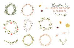 like laurels, no florals  18 .png Watercolor Laurel Wreath & Flower digital by michLgstudios