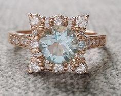 "Aquamarine Diamond Engagement Ring Halo Square Vintage Antique Blush Blue Aqua Peach 14K Rose Gold Exclusive ""The Penelope"""