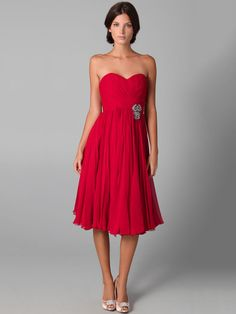 Sheath/Column Strapless Red Crystals Pleats Ruched Taffeta Tea-length Cocktail Dress at Millybridal.com