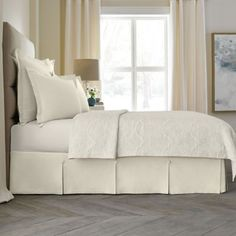Buy Wamsutta Collection® Button Pleated 18-Inch Twin Bed Skirt in Ivory from Bed Bath & Beyond